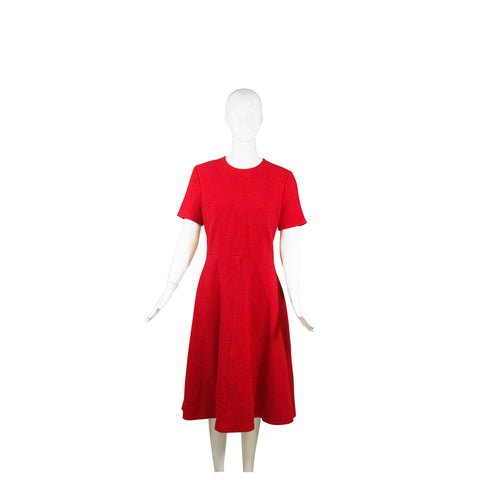 CHRISTIAN DIOR 2017 Red 100% Virgin Wool Short Sleeve Flounce Hem Dress IT46 10