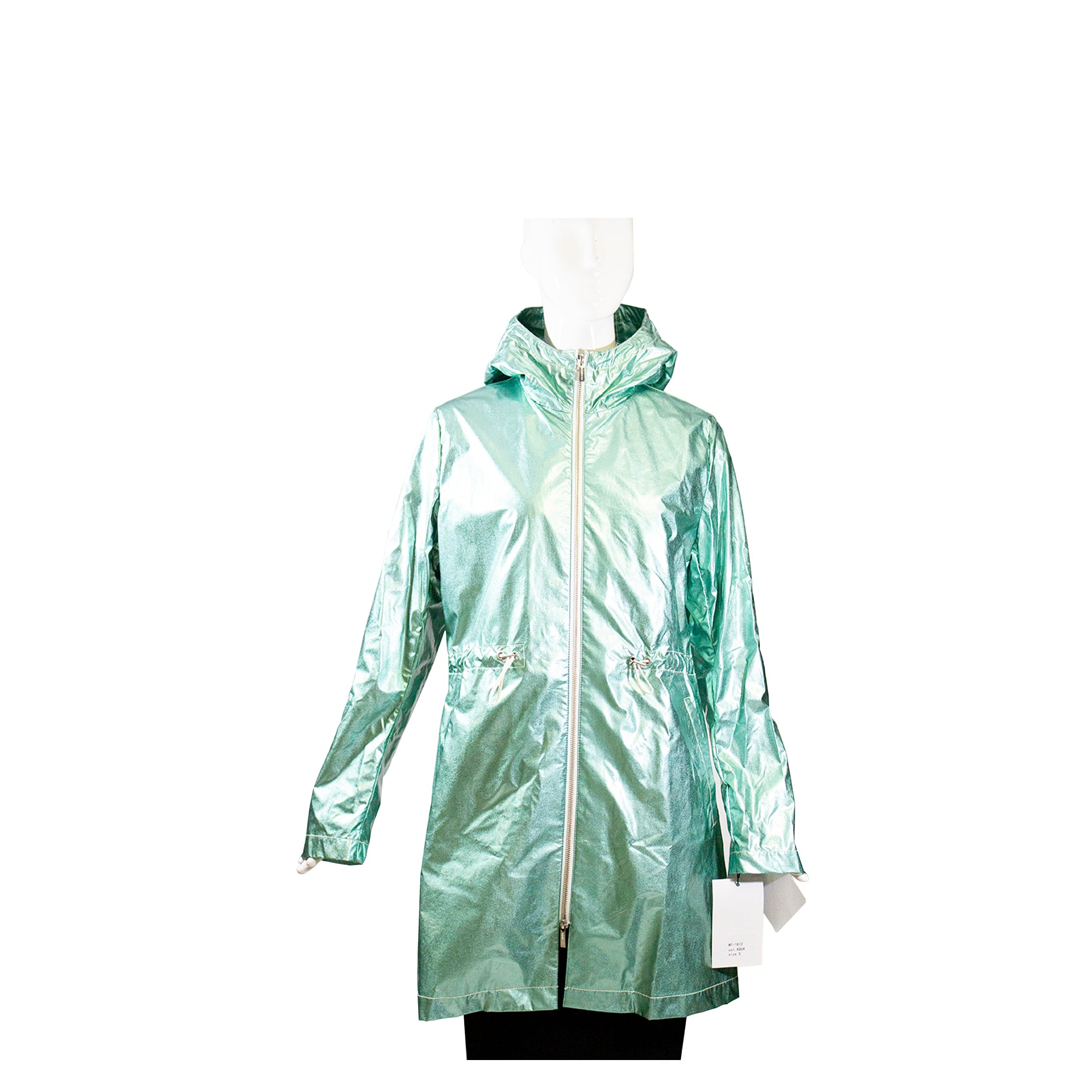 JANE POST S19 Metallic Aqua Contrast Zip Hooded Rain Parka Trench Jacket S $475