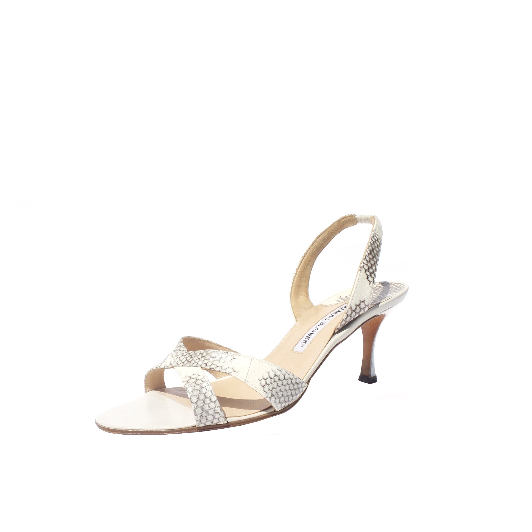 MANOLO BLAHNIK Callasli Ivory Gray Serpent Open Toe Slingback Sandals Pumps 39