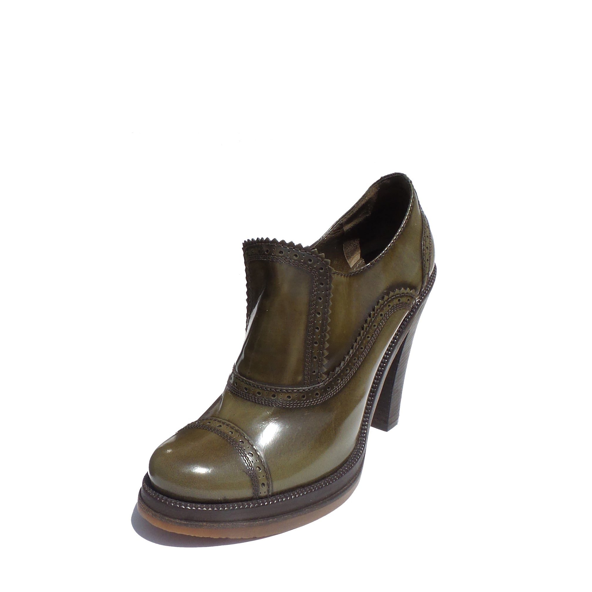 LOUIS VUITTON Olive Green Polished Leather Block Heel Platform Bootie Pumps 39.5