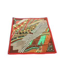 HERMES Red Green Gold Brown Coup'ns Indienes Cashmere Silk GM Shawl Scarf Honoré