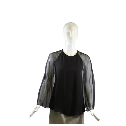 TOM FORD Black V Neck Silver Zip Wrap Cashmere Silk Knit Cardigan Sweater Top M