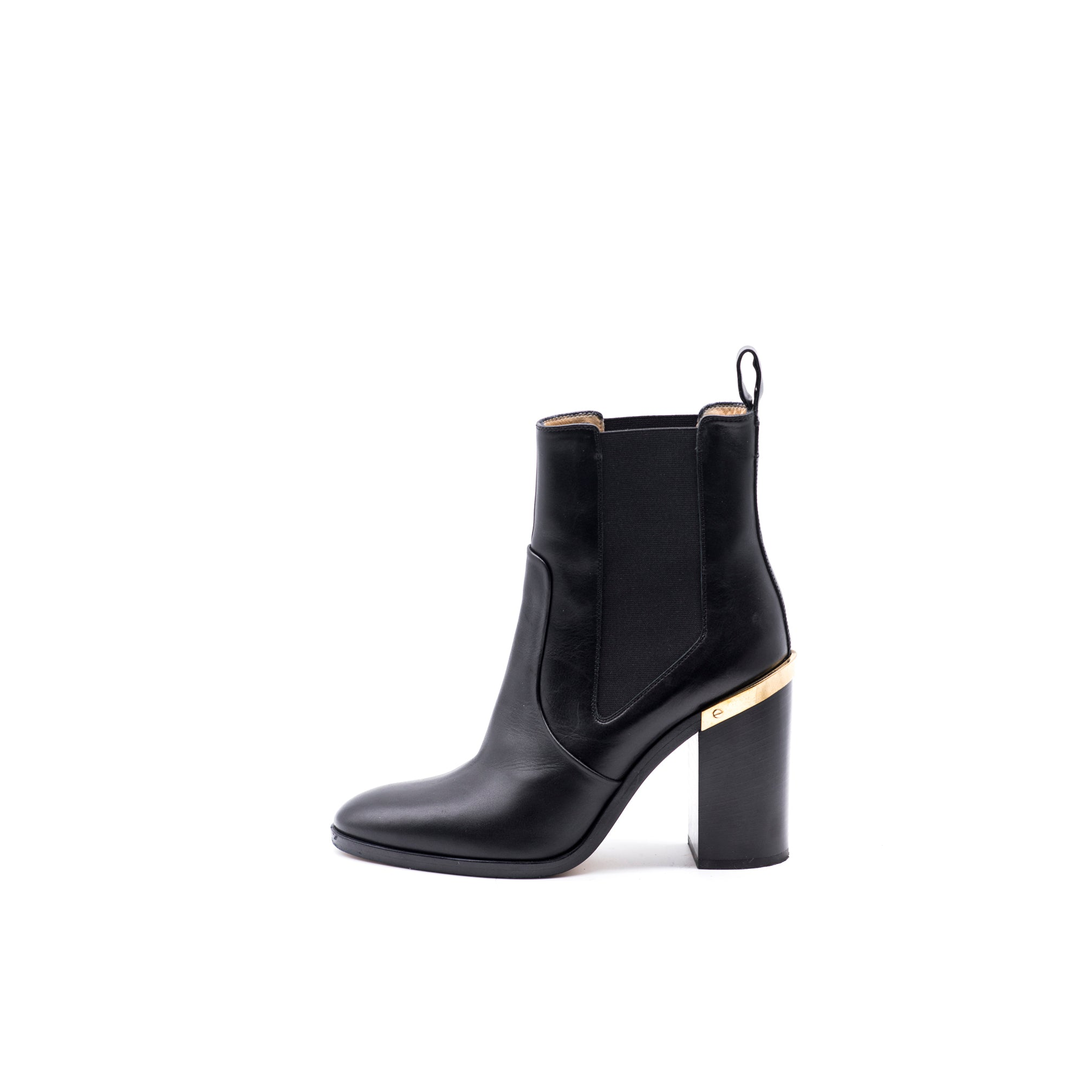 102243a91ae REED KRAKOFF Black Leather Gold Tone Metal Plate Stacked Heel Ankle Boots 39