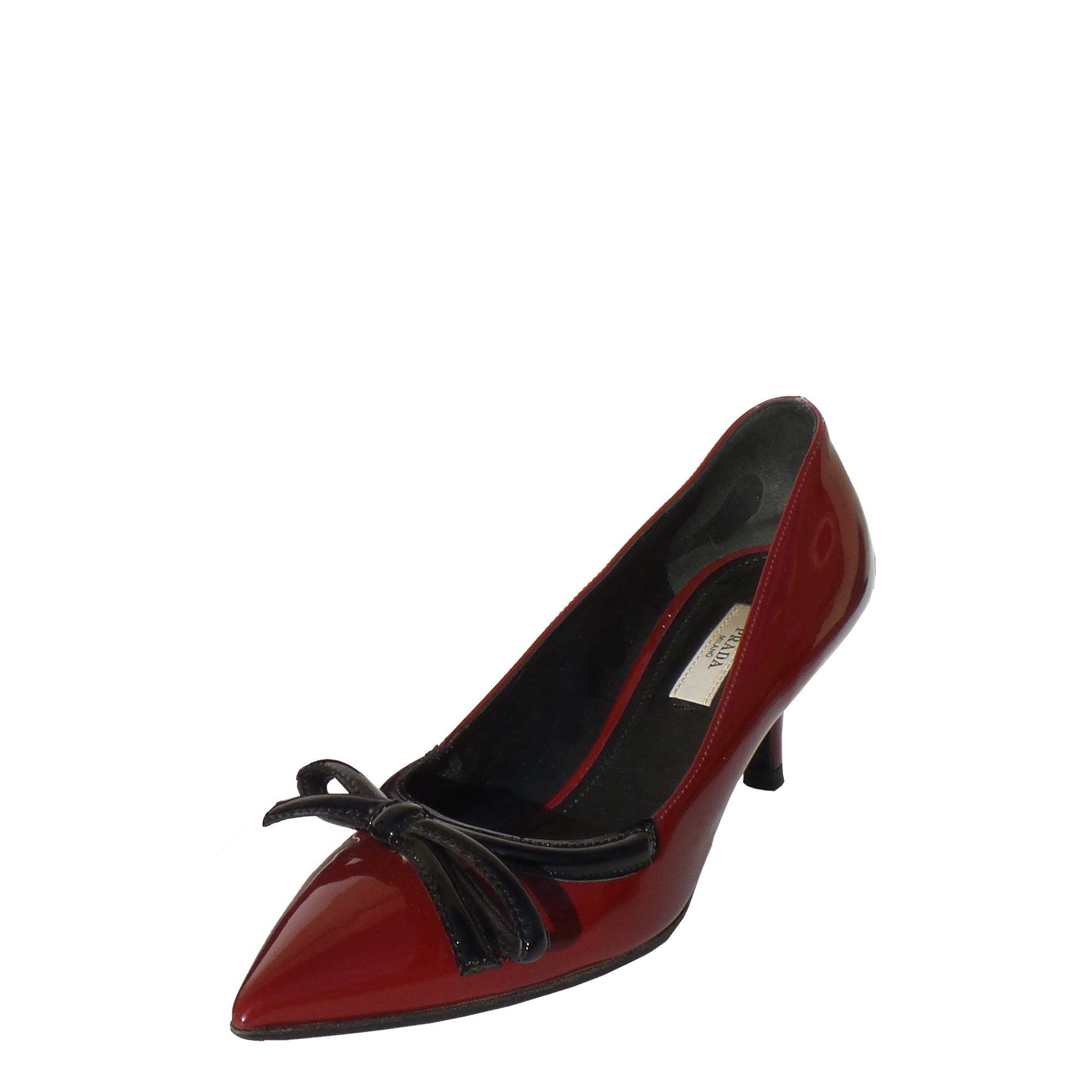 f680bcb9ff9 PRADA Burgundy Red Patent Leather Black Bow Pointed Toe Kitten Heel Pu –  Encore Resale.com