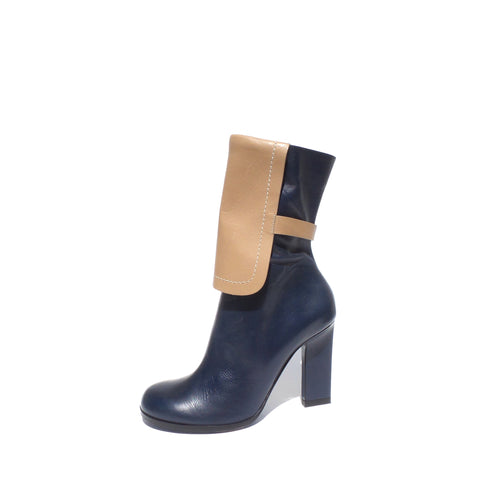 'Sold' JIL SANDER Two Tone Navy Blue Tan Leather Rectangle Heel Mid Calf Zip Boots 39