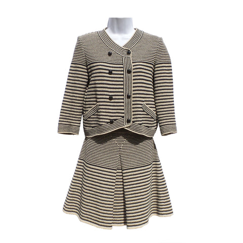 CHANEL 15S Beige Black Striped Knit CC Button Sweater Jacket Skirt Suit Set 36