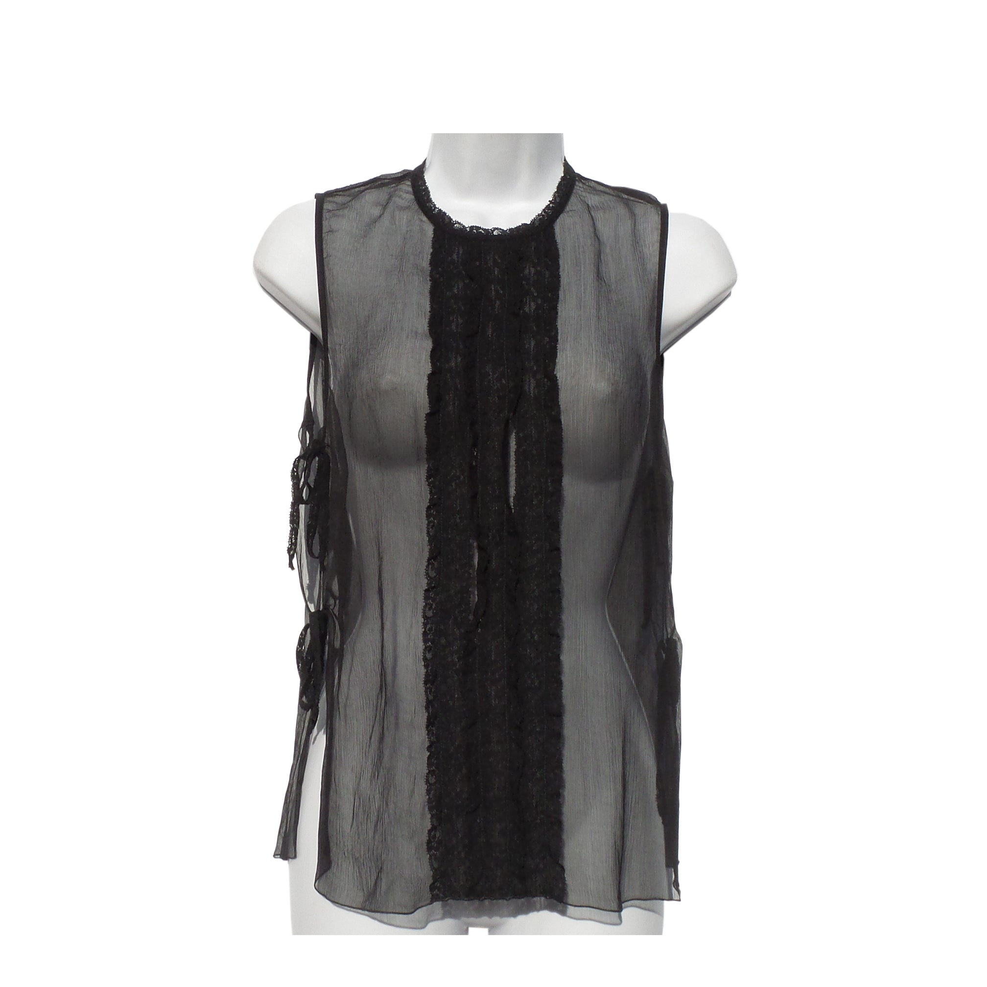 'Sold' CHANEL 08P Black Sleeveless Open Tie Side Lace Trim Sheer Silk Top Cami Tank 38