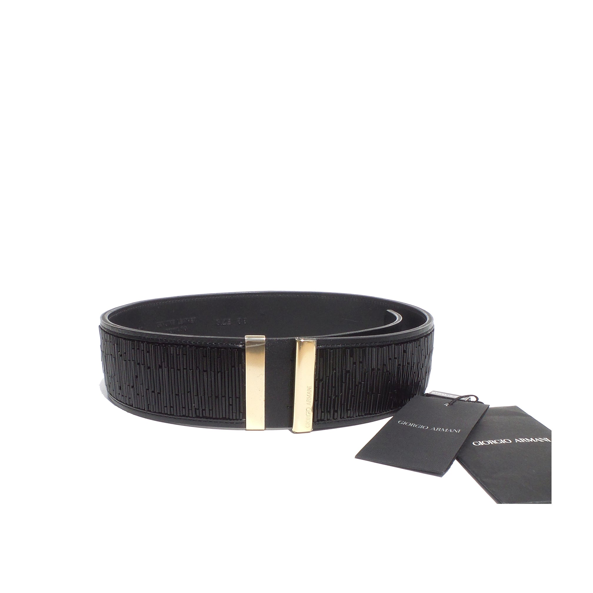 GIORGIO ARMANI Black Leather Beaded Gold Tone Metal Wide Waist Belt 38 24 $650