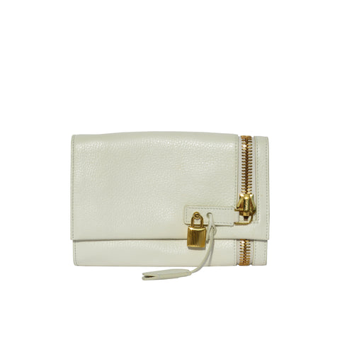 TOM FORD Ivory Creme Grained Leather Oversized Gold Zip Lock Alix Clutch Bag GC