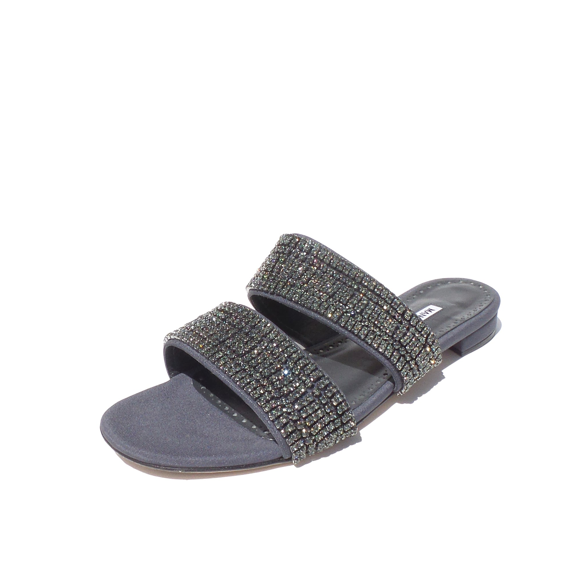 $1195 MANOLO BLAHNIK Bulgocri Gray Satin Crystal Embellished Slide Sandals 38 EC