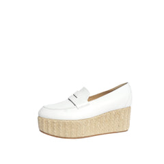 'Sold' GABRIELA HEARST Brucco White Ivory Leather Jute Espadrille Platform Loafers 37.5
