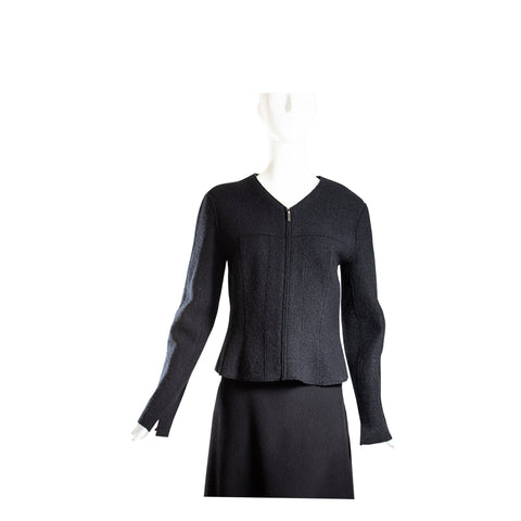 CHANEL Identification Black Boiled Wool V Neck Front Zip Blazer Jacket M 40 VTG