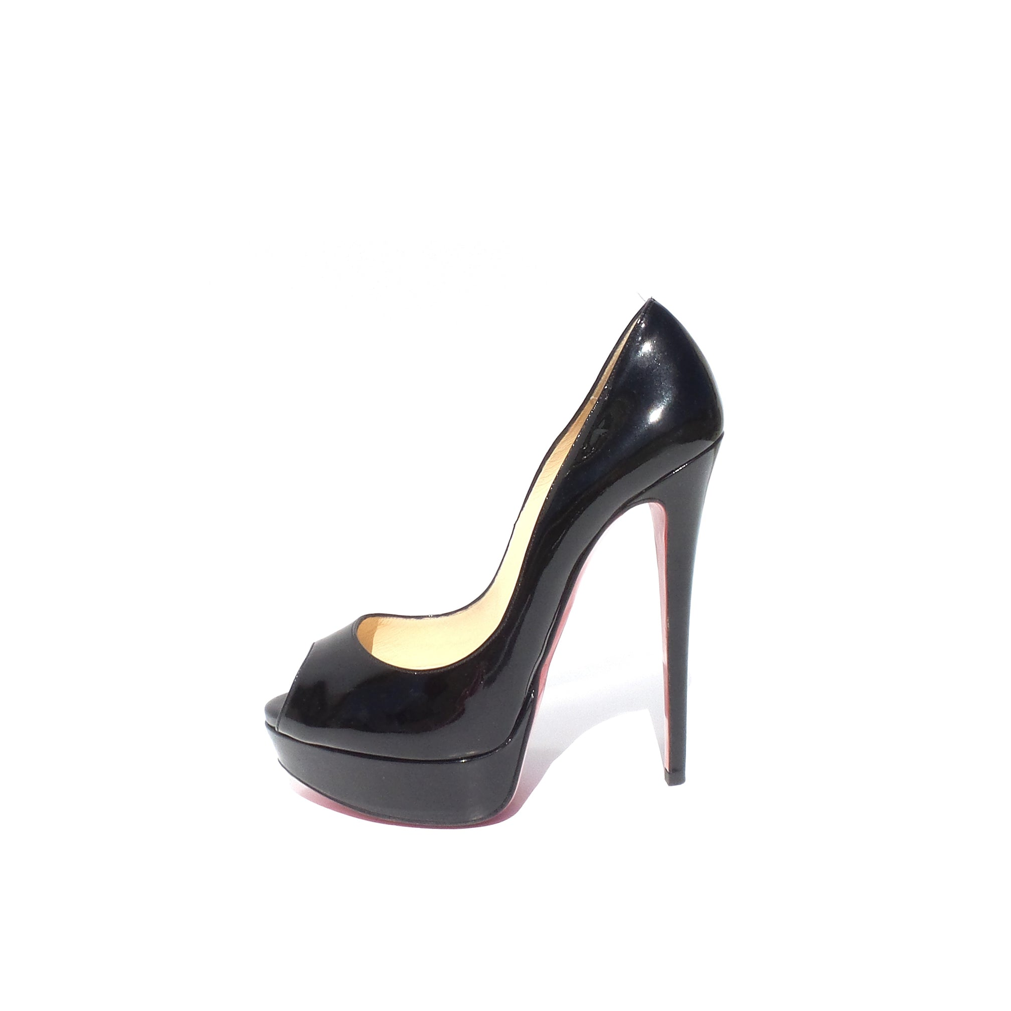 $945 CHRISTIAN LOUBOUTIN Black Patent Leather Lady Peep 150 Platform Pumps 37 GC