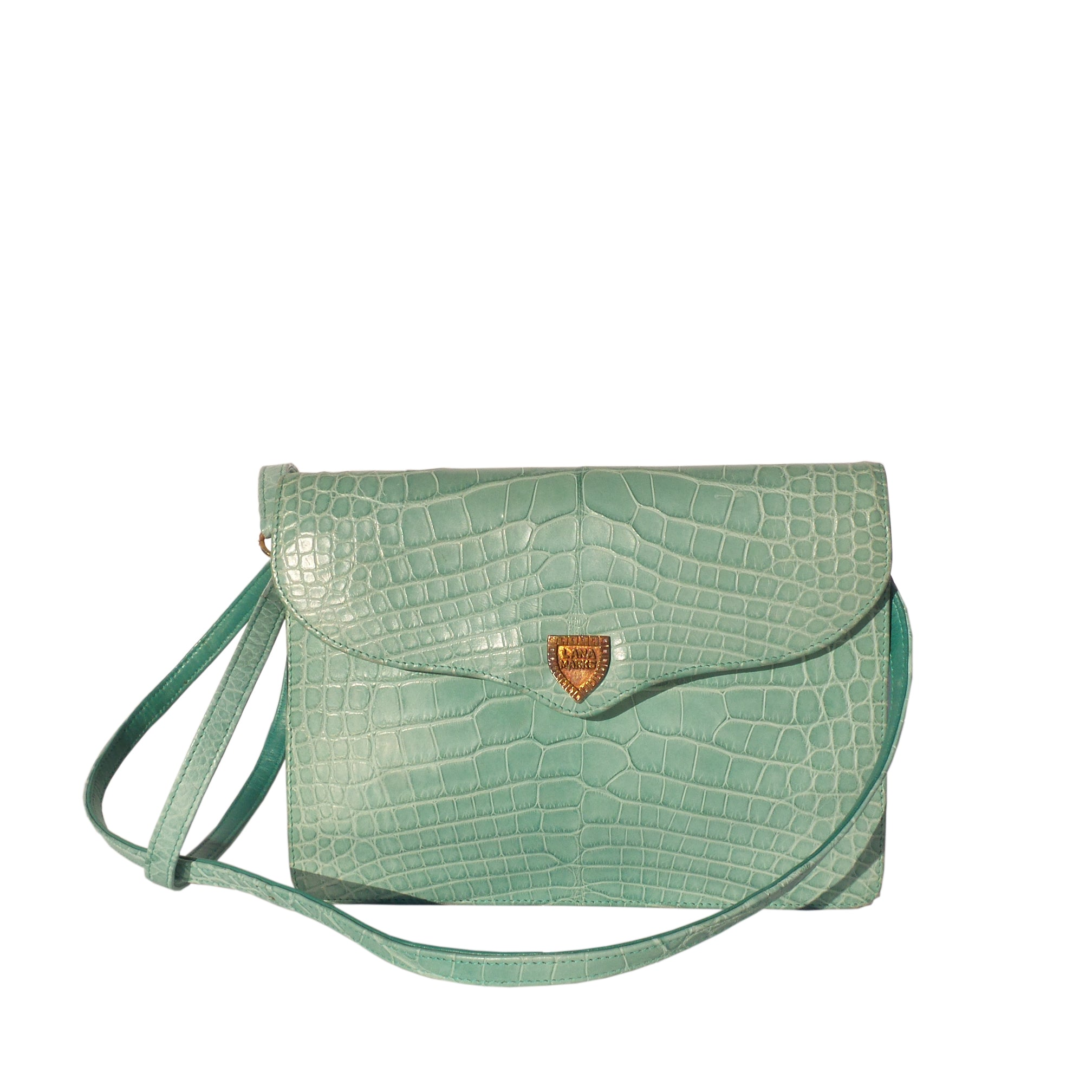 'Sold' LANA MARKS Aqua Mint Crocodile Alligator Envelope Flap Shoulder Bag Clutch VTG