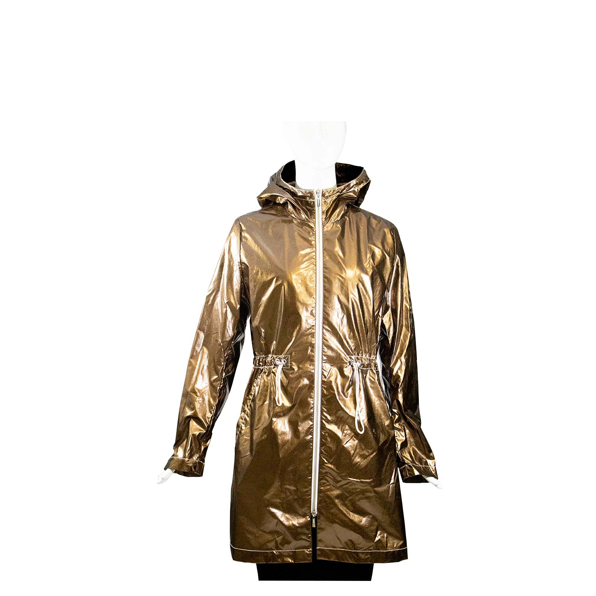 JANE POST Metallic Bronze Contrast Zip Hooded Rain Parka Trench Jacket S $475