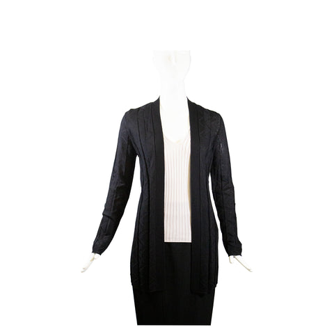 ALAIA Marine Navy Blue Fine Knit Wool Cardigan Sweater Tank Twinset FR 40 $1176