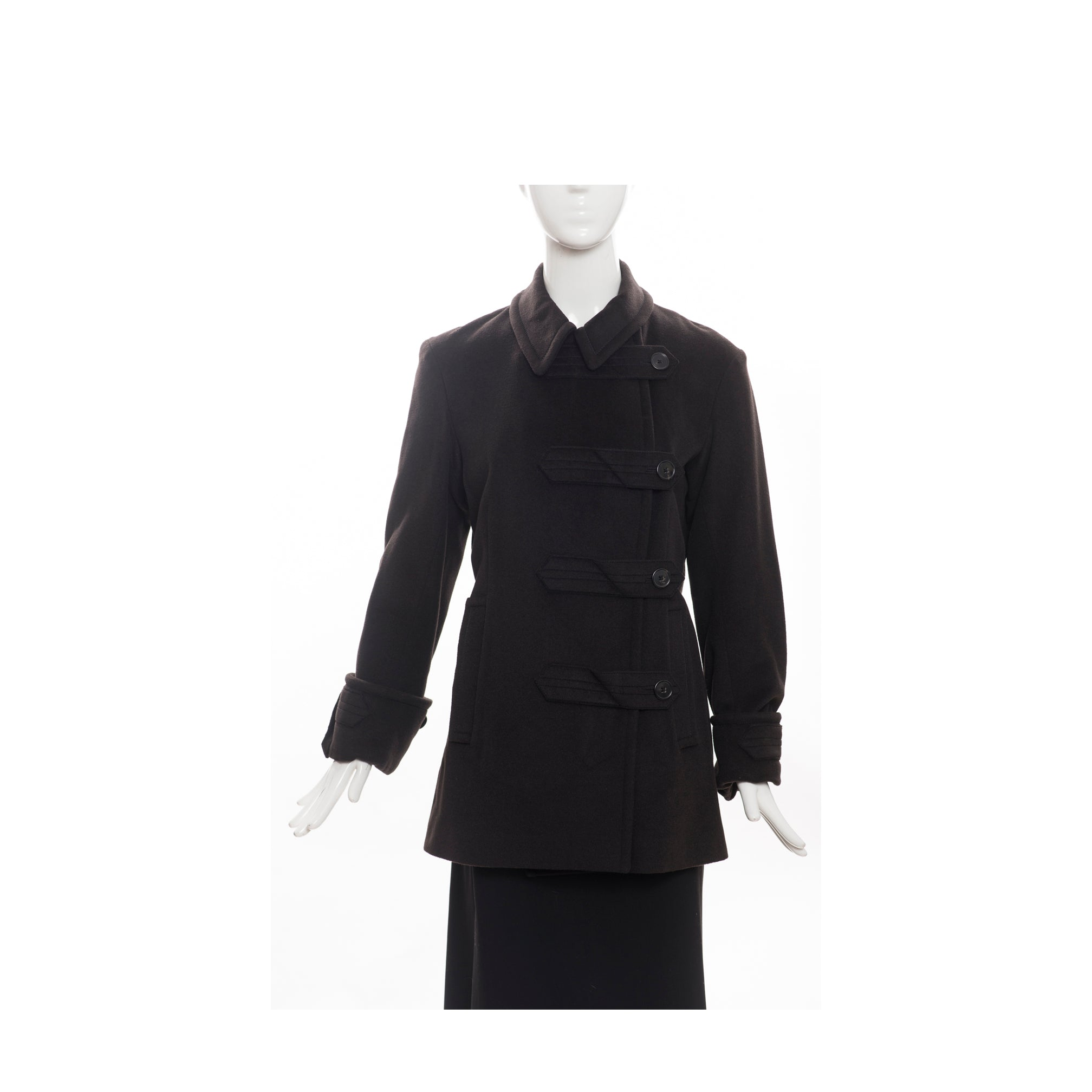 JIL SANDER Black Asymmetric / Off Center Double Breasted Wool Angora Coat 38 GUC