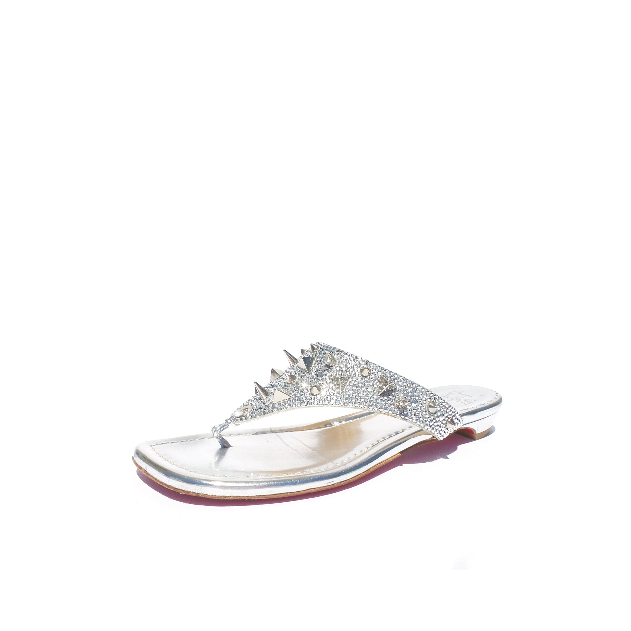 finest selection 6ee08 667bb CHRISTIAN LOUBOUTIN Strass Spikes Silver Leather Crystal Thong Flat Sandals  39