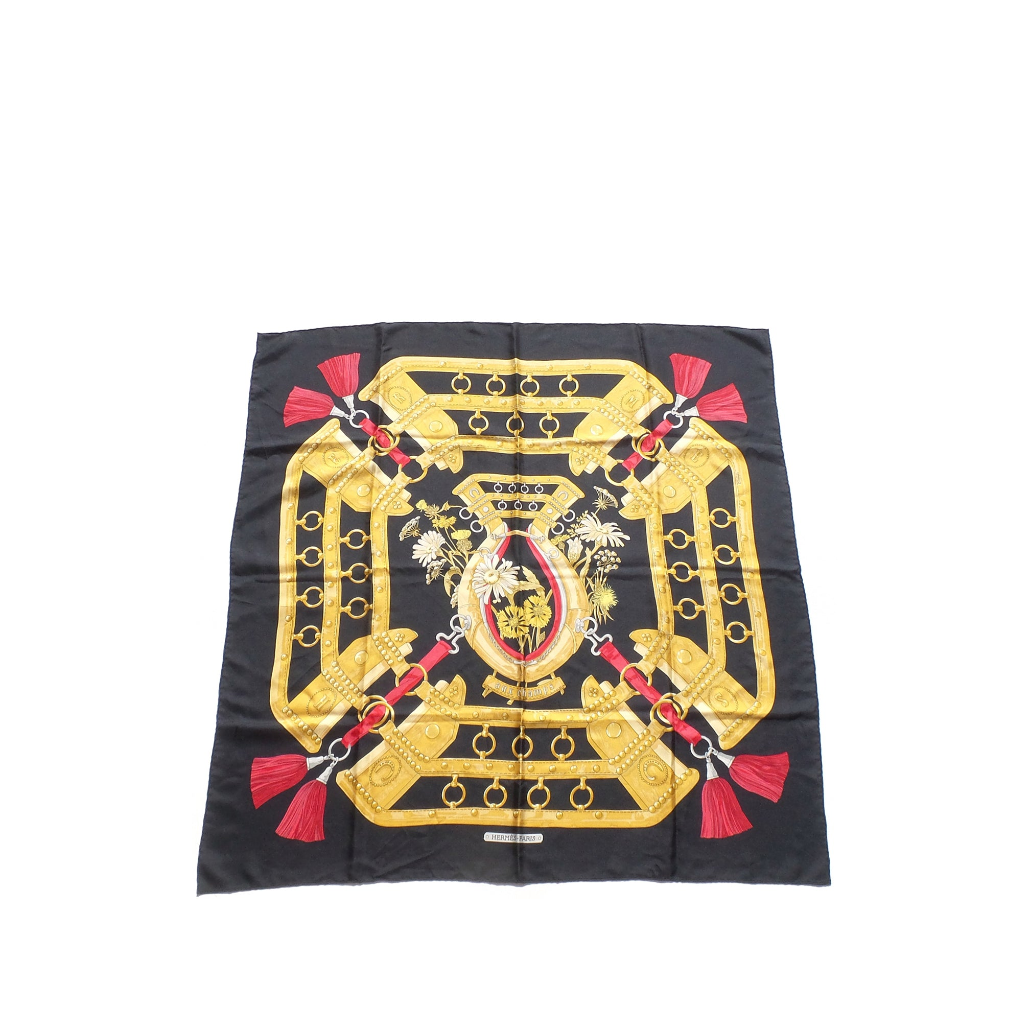 HERMES Vintage Black Gold Red Gray Aux Champs Silk Twill Scarf 90cm Caty Latham