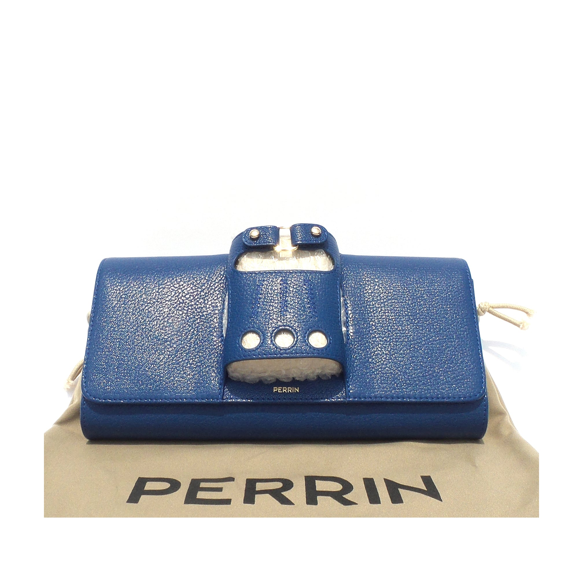 PERRIN Paris Le Cabriolet Royal Blue Goat Leather Gold Tone HW Glove Clutch $995
