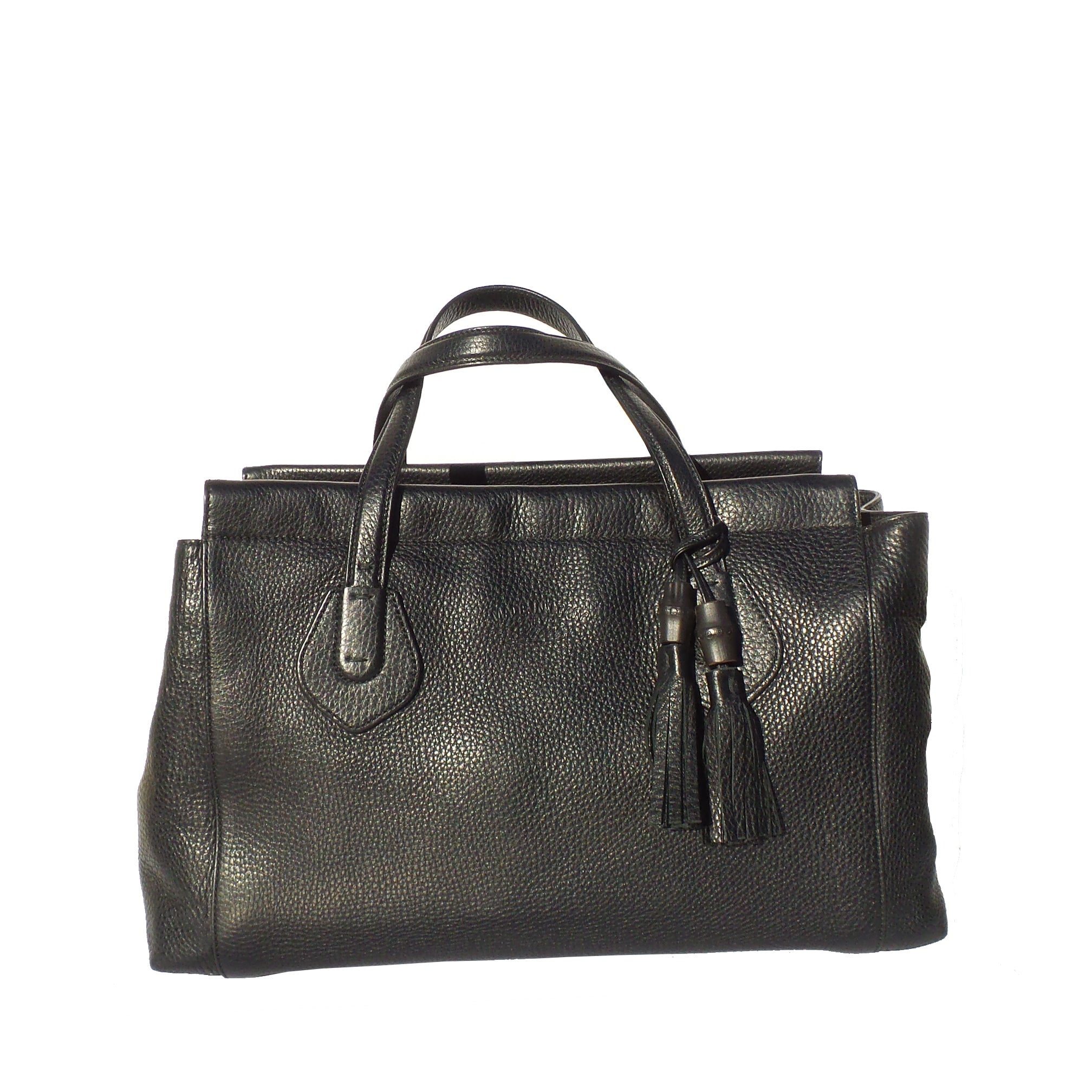 9dde8a924 GUCCI Lady Tassel Black Grained Leather Top Handle Tote Bag Satchel $2,450