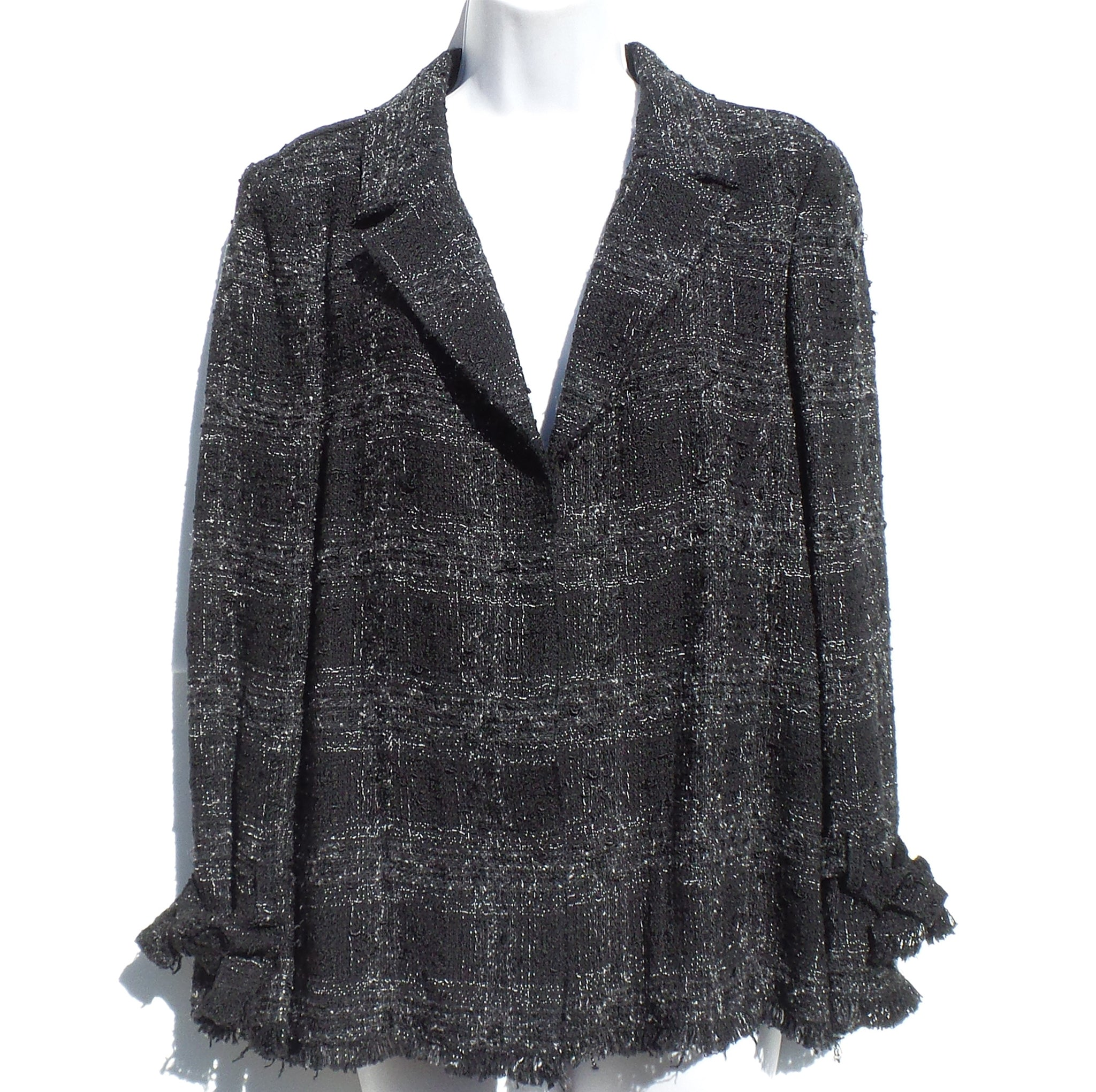 'Sold' CHANEL Black Gray White Tweed CC Cuff Cotton Silk Blazer Jacket 42