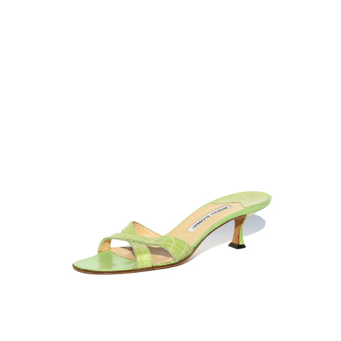 MANOLO BLAHNIK Callamu Lime Green Crocodile Alligator Crisscross Sandals 39.5