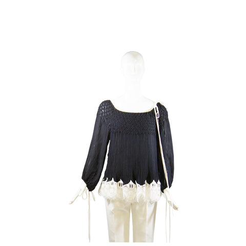 CHLOE 2016 Black Off the Shoulder White Lace Pleated Long Sleeve Blouse Top FR38