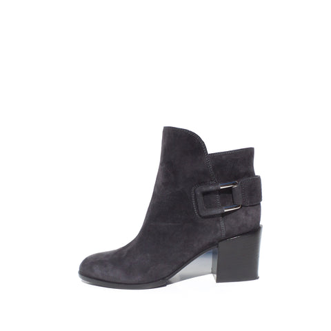 SERGIO ROSSI Charcoal Gray Suede Silver Buckle Stacked Block Heel Ankle Boots 36