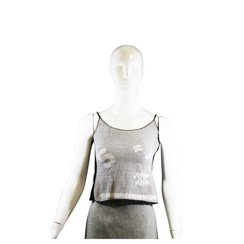 'Sold' CHANEL 04P Black White Mesh Overlay CC No.5 Sleeveless Tank Cami Top XS Italy 36