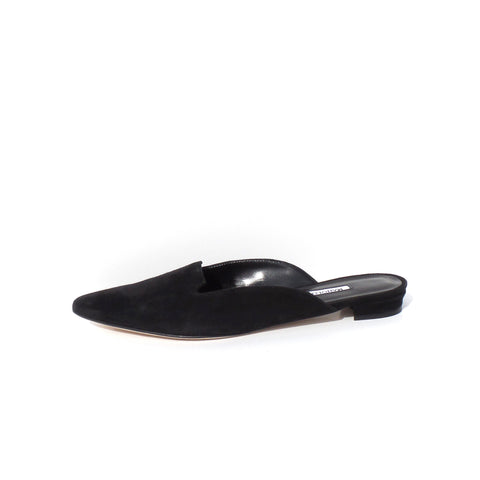 CHRISTIAN LOUBOUTIN Konstantina Black Leather PomPom Point Toe Ballet Flats 37.5