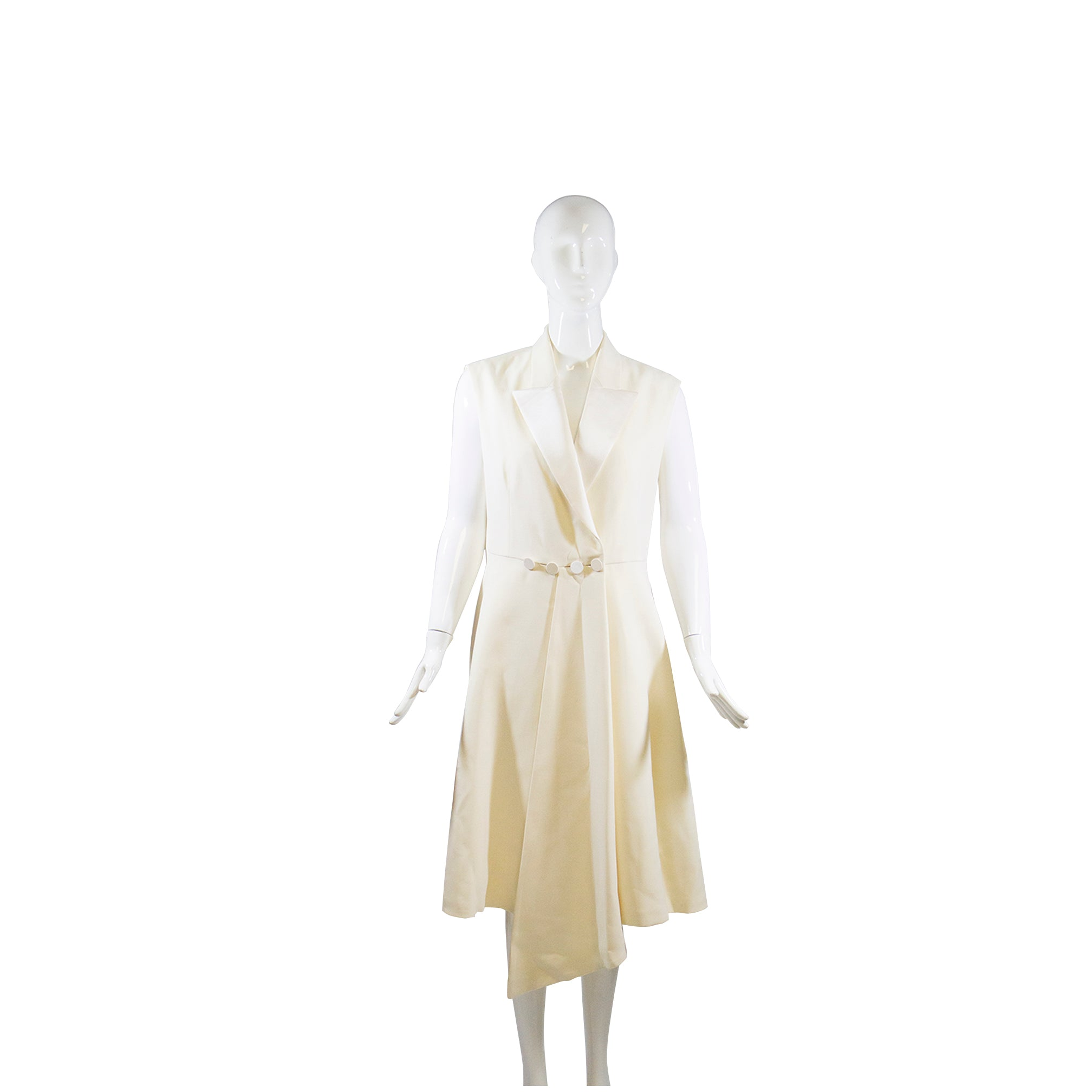 CHRISTIAN DIOR 15C Ivory Creme Silk Wool Sleeveless V Neck Wrap Dress IT46 10