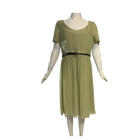 'Sold' AKRIS Punto Sage Light Green Cotton Silk Leather Belt Short Sleeve Dress FR44 12