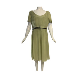 AKRIS Punto Sage Light Green Cotton Silk Leather Belt Short Sleeve Dress FR44 12