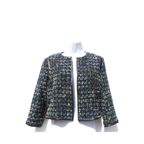 DEREK LAM 10 CROSBY Navy Multi Black Faux Leather Trim Cropped Blazer Jacket 6