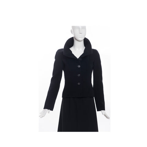 CH CAROLINA HERRERA Black Double Breasted Twill Belted Trench Coat Jacket XS
