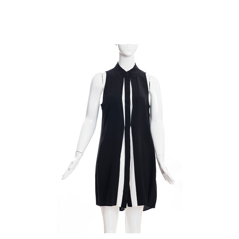 FENDI Black Loop Detailed Scoop Back Fleece Wool Sleeveless Shift Dress IT 40 6