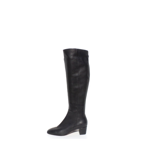 'Sold' GIANVITO ROSSI Black Leather Square Toe Mid Block Heel Tall Boots 36.5 NWD