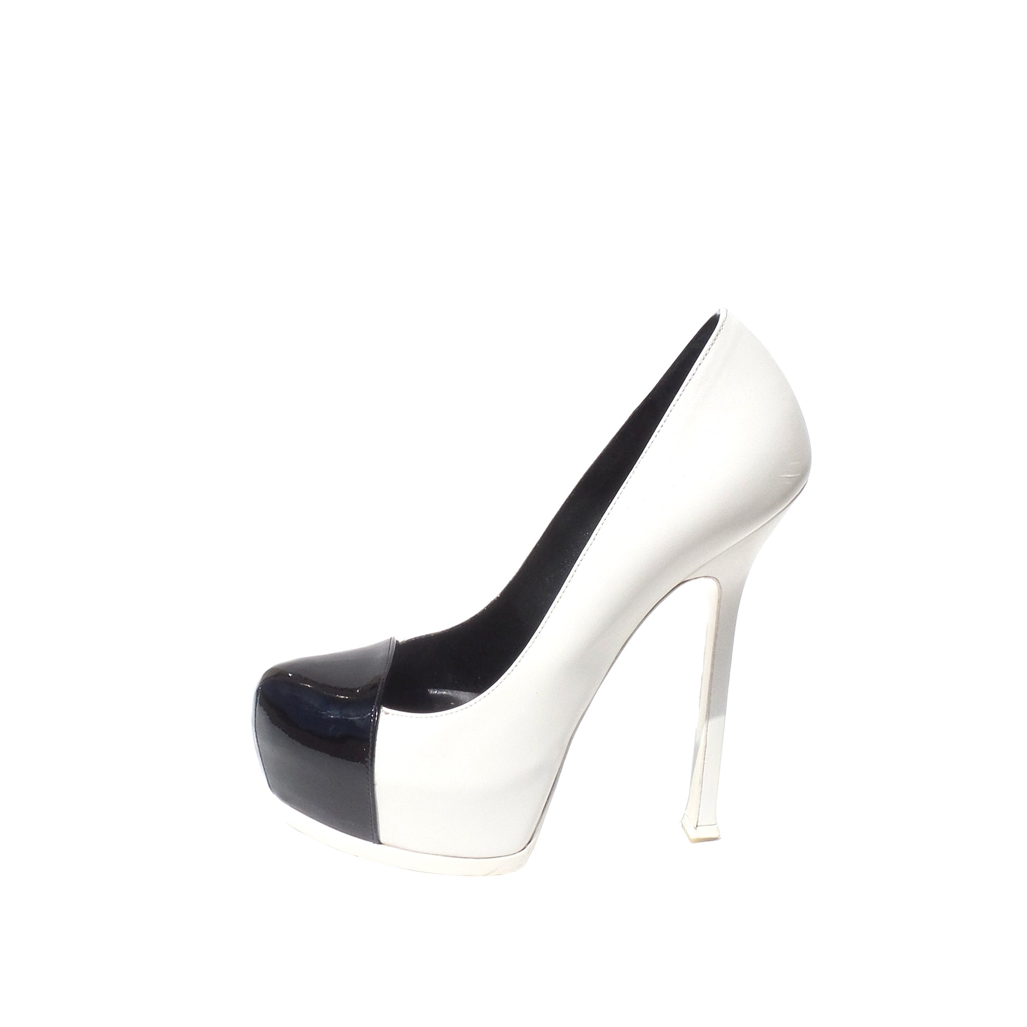 bf04d290248 YVES SAINT LAURENT White Leather Black Patent Cap Toe Tribute Two Heel –  Encore Resale.com
