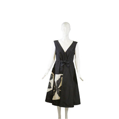 'Sold' PRADA Black Ivory White Floral V Neck Bow Waist Pleated Sleeveless Silk Dress 44