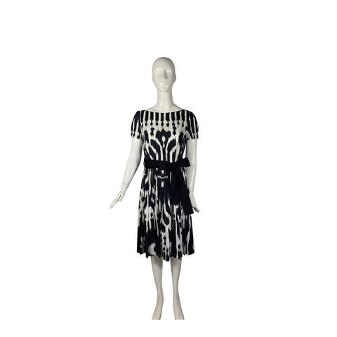 PRADA Black White Ikat Print Button Down Back Sash Tie Belt Pleat Skirt Dress 44