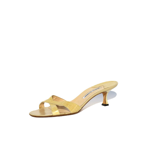 MANOLO BLAHNIK Khan Cashmere Beige Leather Two Band Block Heel Sandals 39.5 $765
