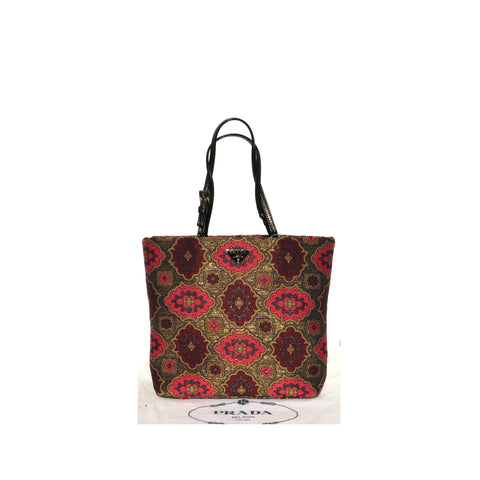 PRADA Lurex Arabesque Rosso Red Gold Plum Brocade Black Leather Mini Tote BN0995