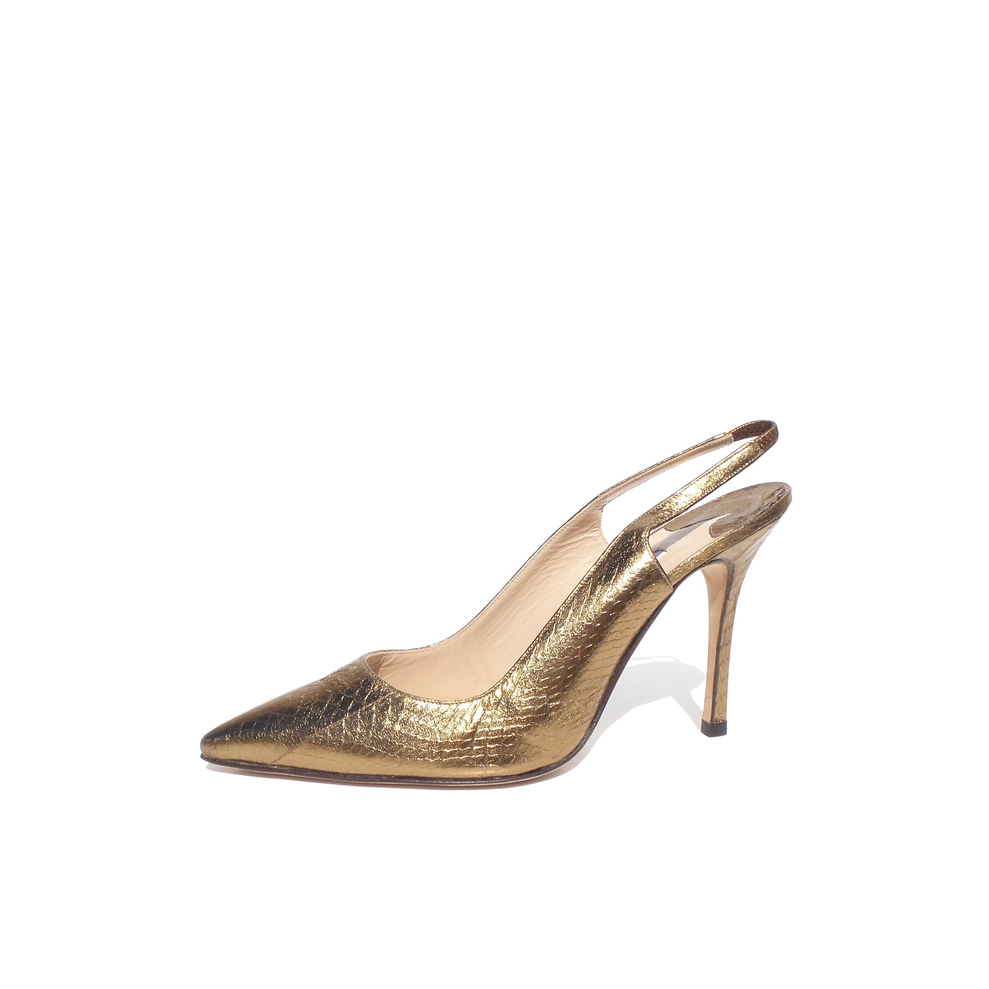 c6a7d65f46 MANOLO BLAHNIK Metallic Gold Bronze Snakeskin Point Toe Slingback Heel –  Encore Resale.com