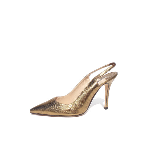 MANOLO BLAHNIK Metallic Gold Bronze Snakeskin Point Toe Slingback Heels Pumps 40