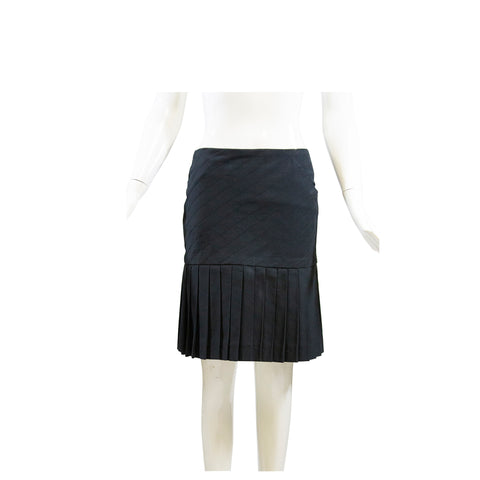CHANEL 03P Black Cotton Diagonal Seam Box Pleated Hem Back Zip Skirt France 34