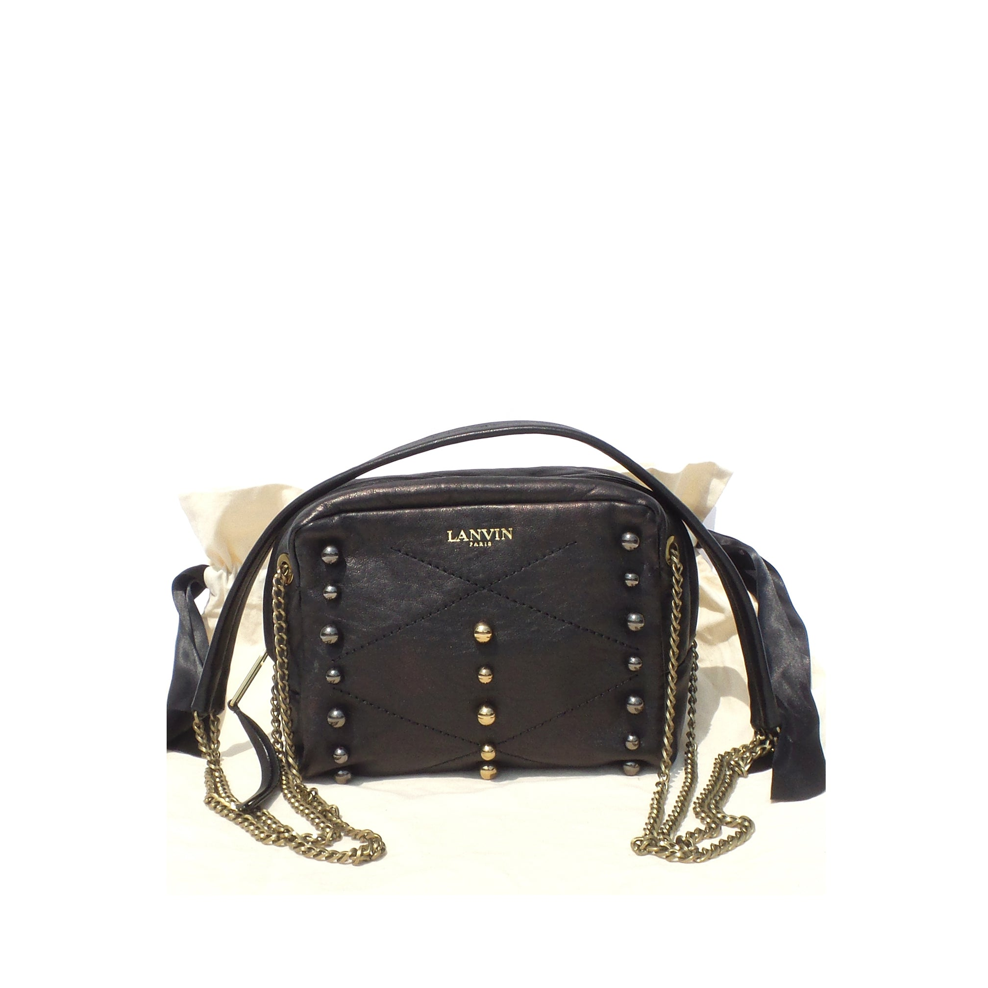 'Sold' LANVIN Black Lambskin Leather Mini Sugar Studded Quilted Stitch Crossbody Bag EC