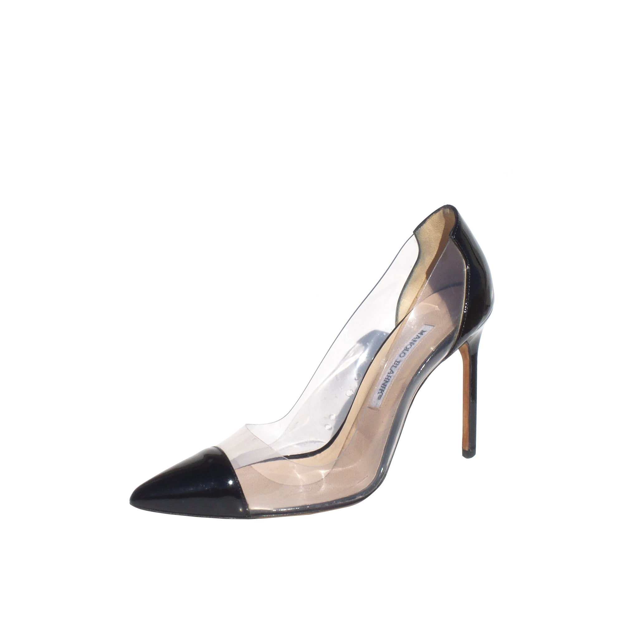 'Sold' MANOLO BLAHNIK Pacha Clear PVC Black Patent Pointed Cap Toe Heels Pumps 38.5 GUC