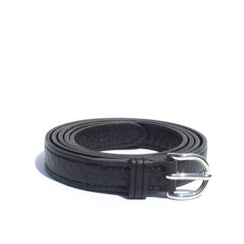 HERMES Rafale Black Taurillon Clemence Leather Palladium Buckle Skinny Belt 85cm