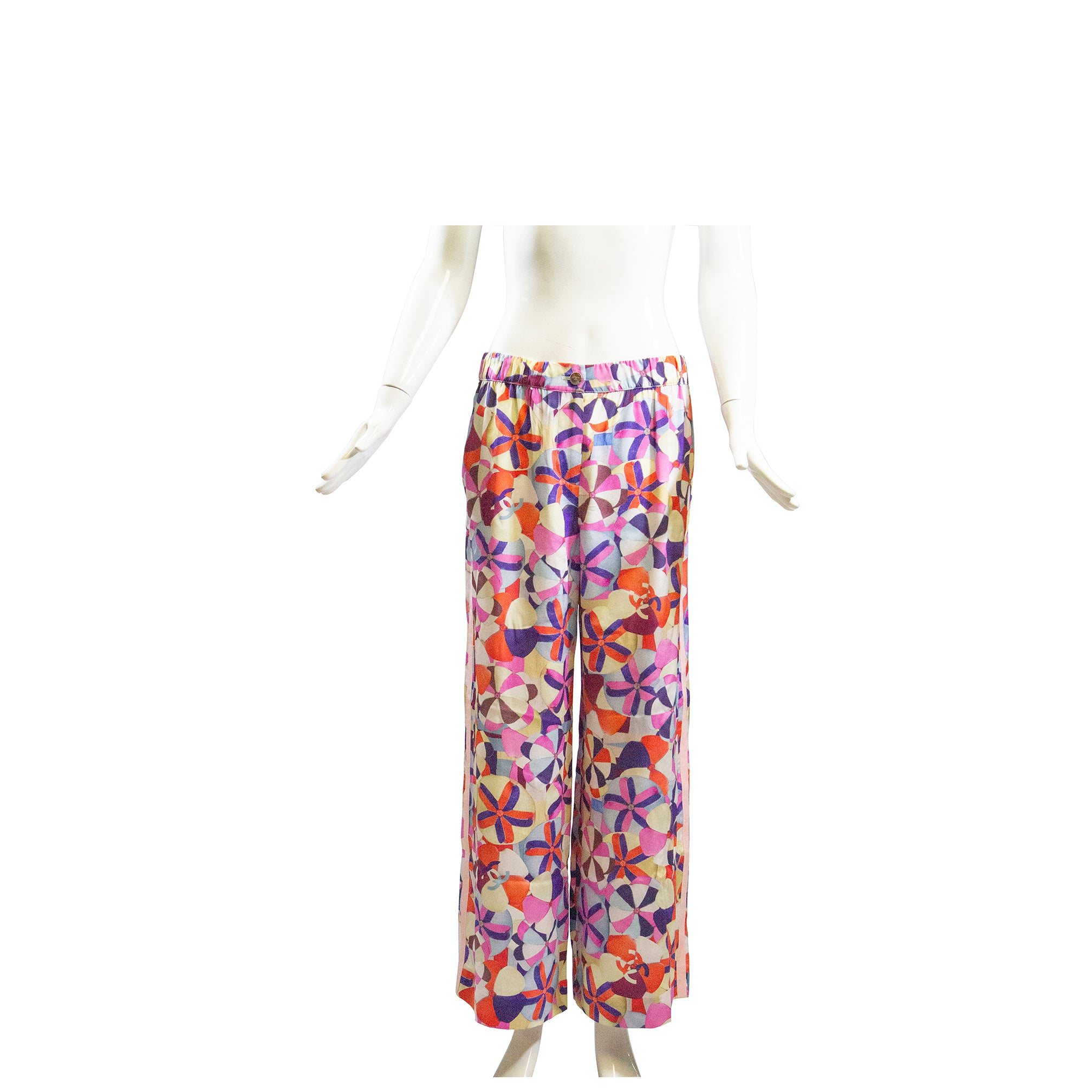 CHANEL 16C Paris Seoul Multi Color Pink Grosgrain Trim Silk Wide Leg Pants M 42